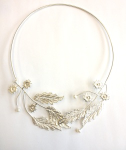 Sterling Silver Cast Lace and 10k gold Necklace