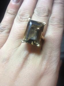 10k gold and smokey quartz ring.