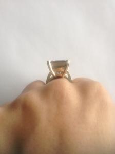 side view of smokey quartz cocktail ring.
